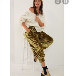 🆕 With Tag. Anthropologie Gold Velvet Joggers